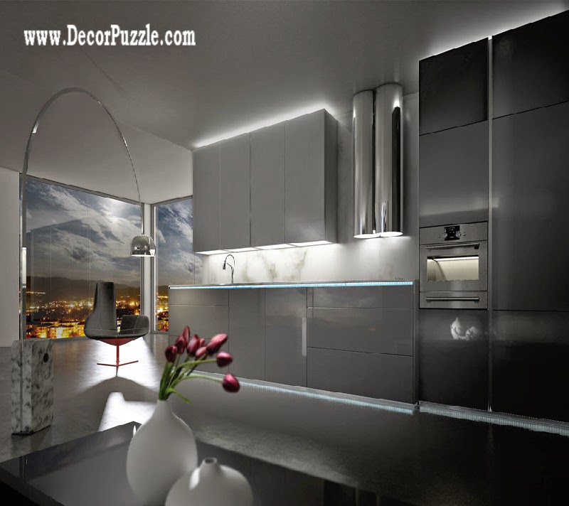 Modern white kitchen design in minimalist style 2015, kitchen lighting ideas
