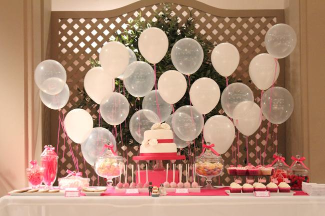 Decoracion Bautizo Elegante ~ Fondo de globos para mesa de dulces