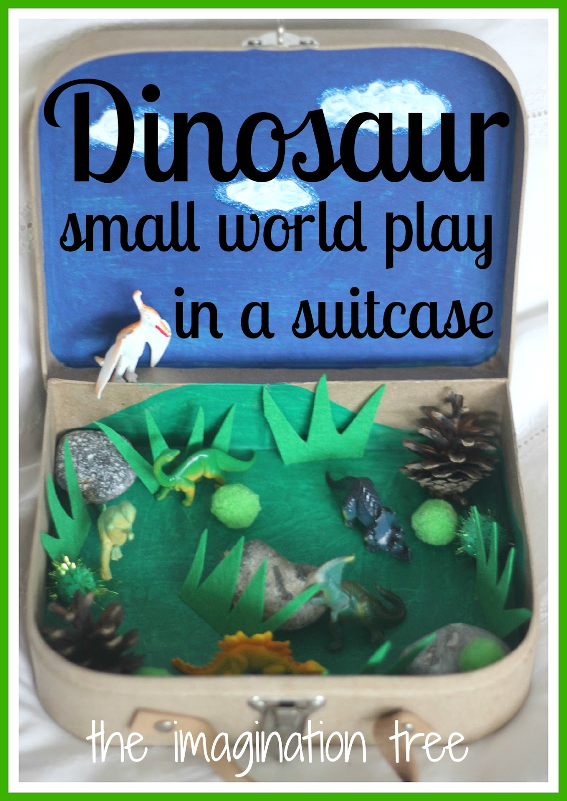 dinosaur small world play in a suitcase