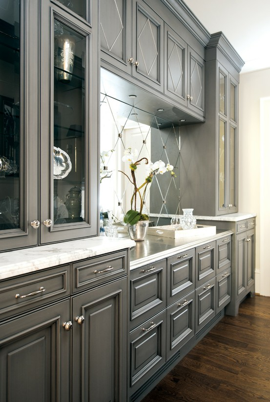Trove interiors falling for grey kitchens for Dark grey kitchen units