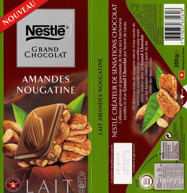 tablette de chocolat lait gourmand nestlé grand chocolat amandes nougatine