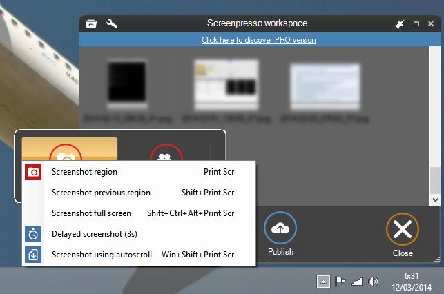Pilihan screenshot di Screenpresso