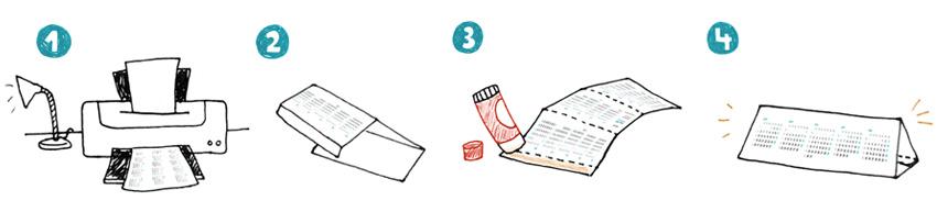 Aprèn com es munta el calendari de sobretaula de 2015 amb el manual d'instruccions il·lustrat ©Imma Mestre Cunillera