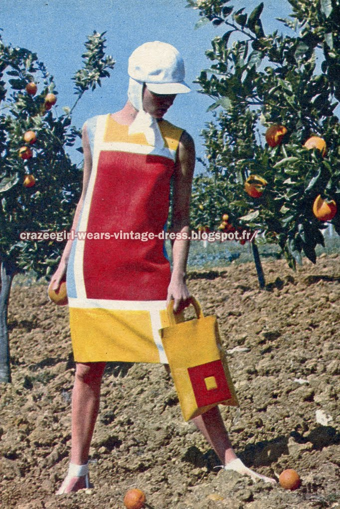 Colorblock dress - 1966 60s 1960 color block red white yellow Paris diffusion cap hat