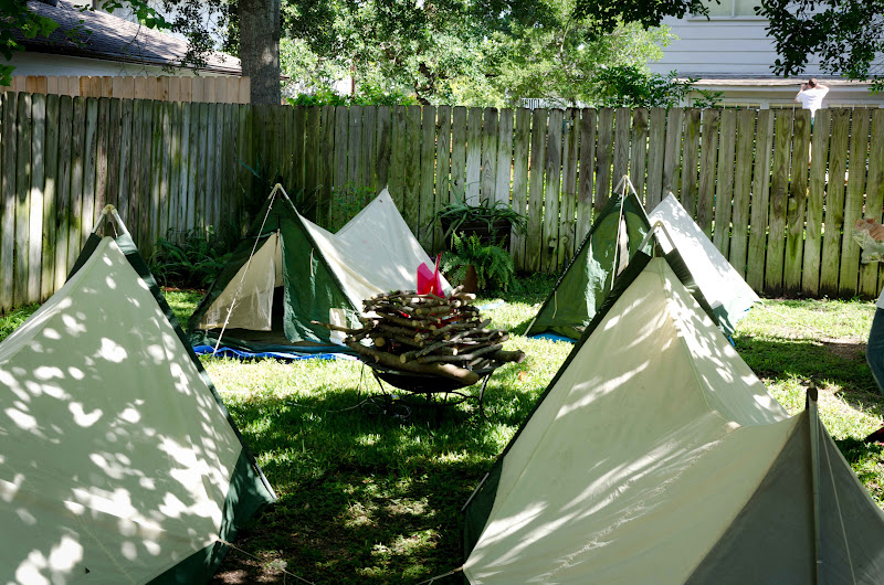Camping In The Backyard Birthday Party : Here is a picture of the tents that we set up in the backyard The