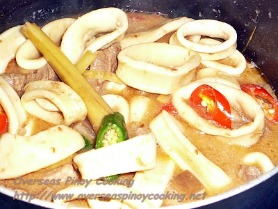 Guinataang Pusit at Baboy - Cooking Procedure