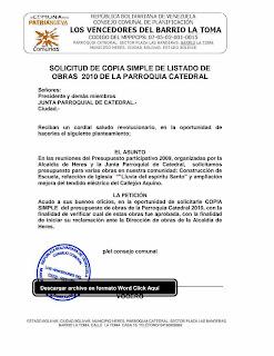 solicitud de copia simple de listado de obras a ejecutar en el año 2010 a la junta parroquial catedral