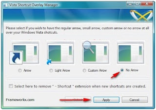 Cara menghilangkan tanda panah shorcut icon di windows vista