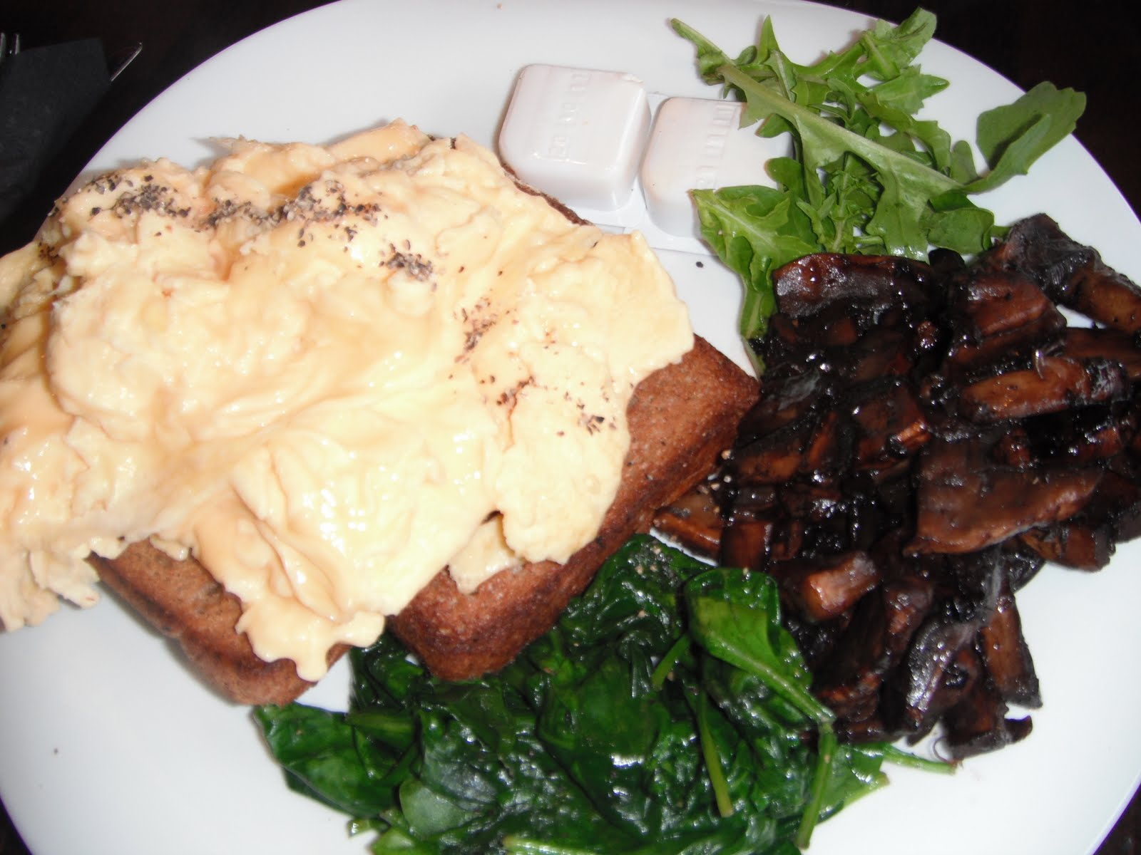 side of balsamic mushrooms and wilted spinach, hubby had poached eggs ...