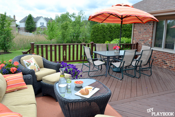 Deck with patio furniture and orange accents