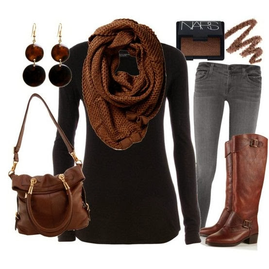 Dark brown scarf black sweater denim pants hand bag and long boots