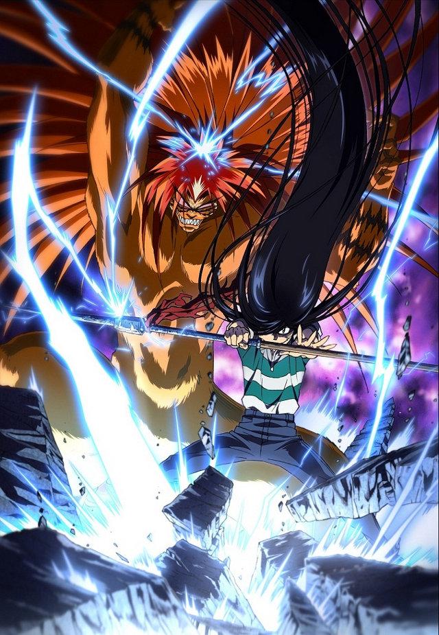 Plakat reklamujący Ushio to Tora z bohaterami anime