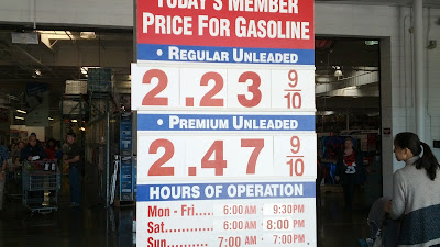 Gas prices for Jan. 23, 2015 at Costco in South San Francisco, CA