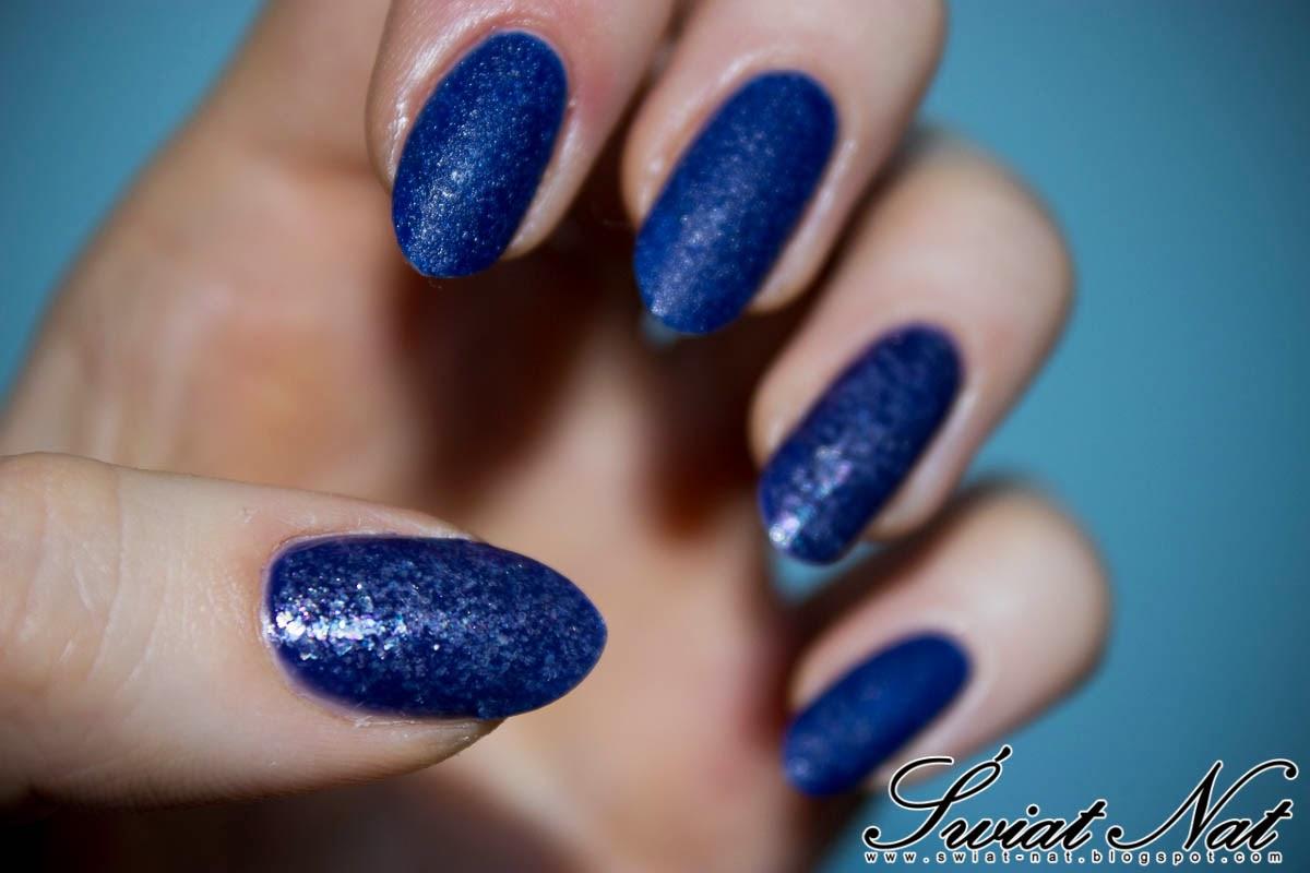 granatowy wow matowy paznokcie manicure nails