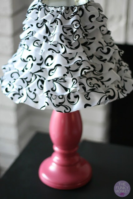 The funky monkey diy ruffled wire ribbon lamp shade diy ruffled wire ribbon lamp shade aloadofball Choice Image