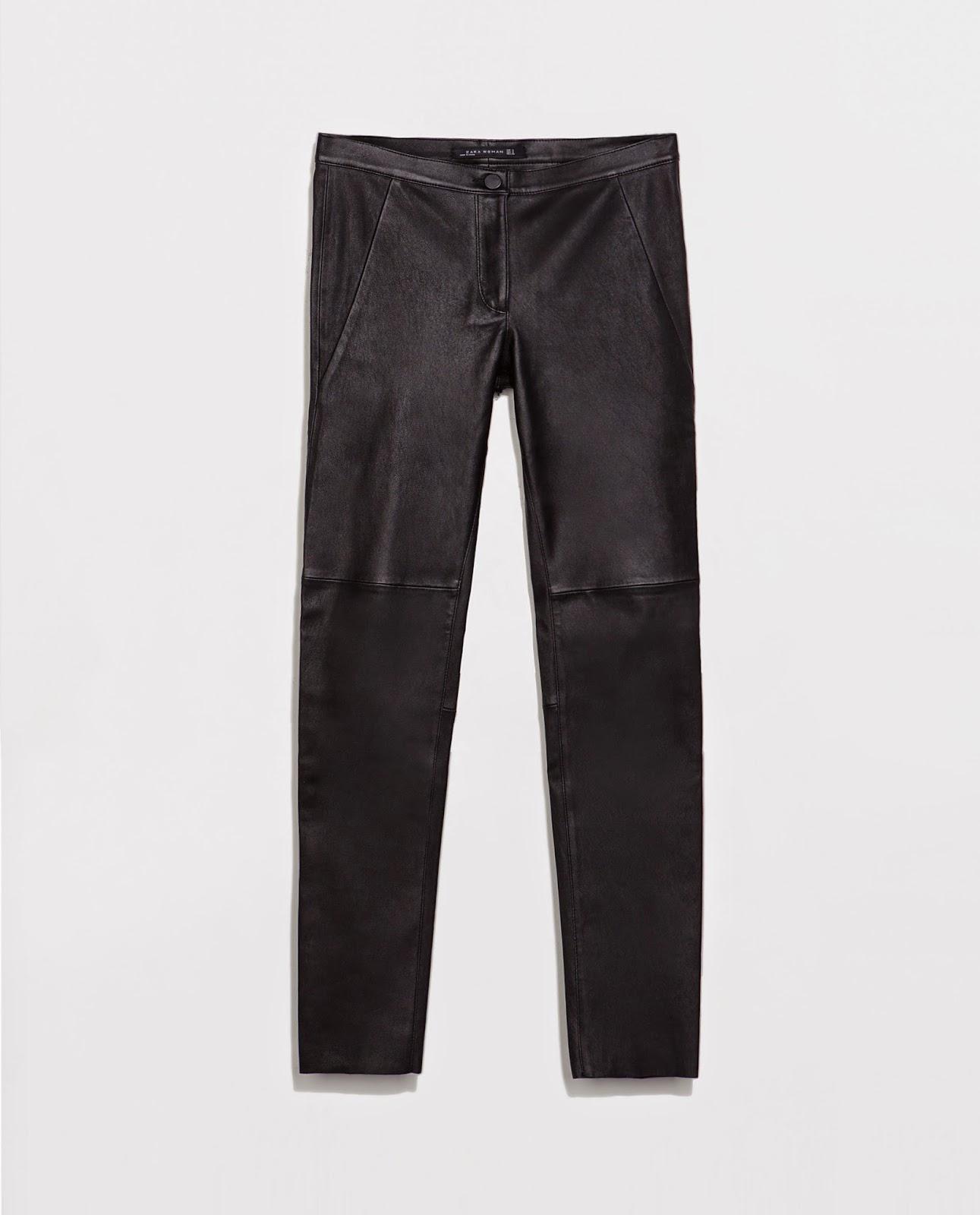 Skinny de piel negro Zara, Black, street style, pants