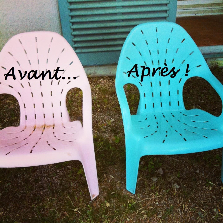 Initiales gg diy repeindre des fauteuils de jardin - Peindre des chaises en plastique ...