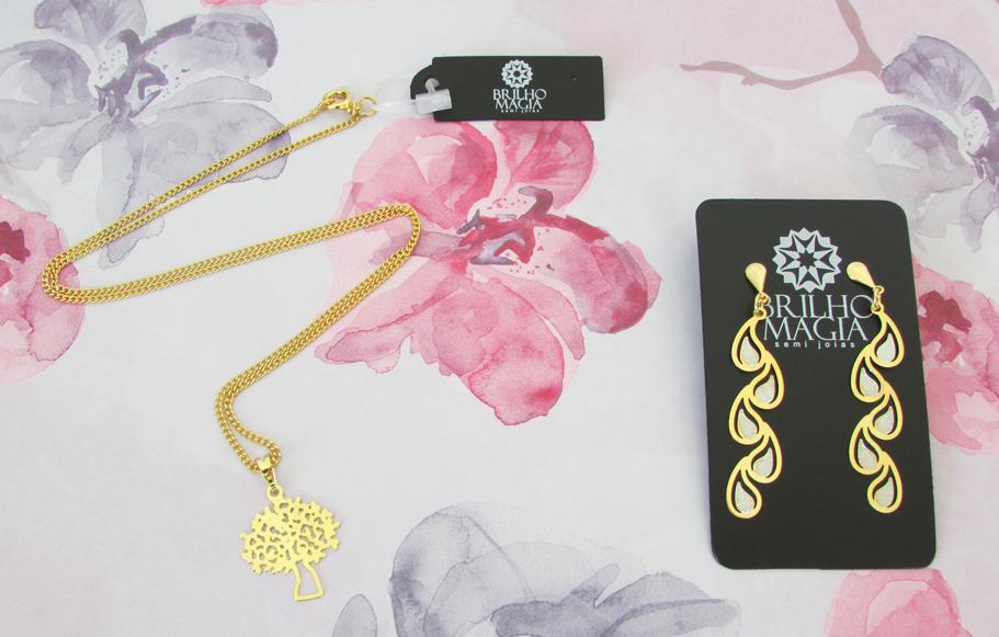 peças, semi joias, brilho magia, delicada, colar, brinco