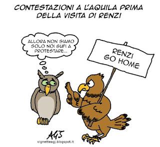 L'Aquila, Renzi, vignetta satira