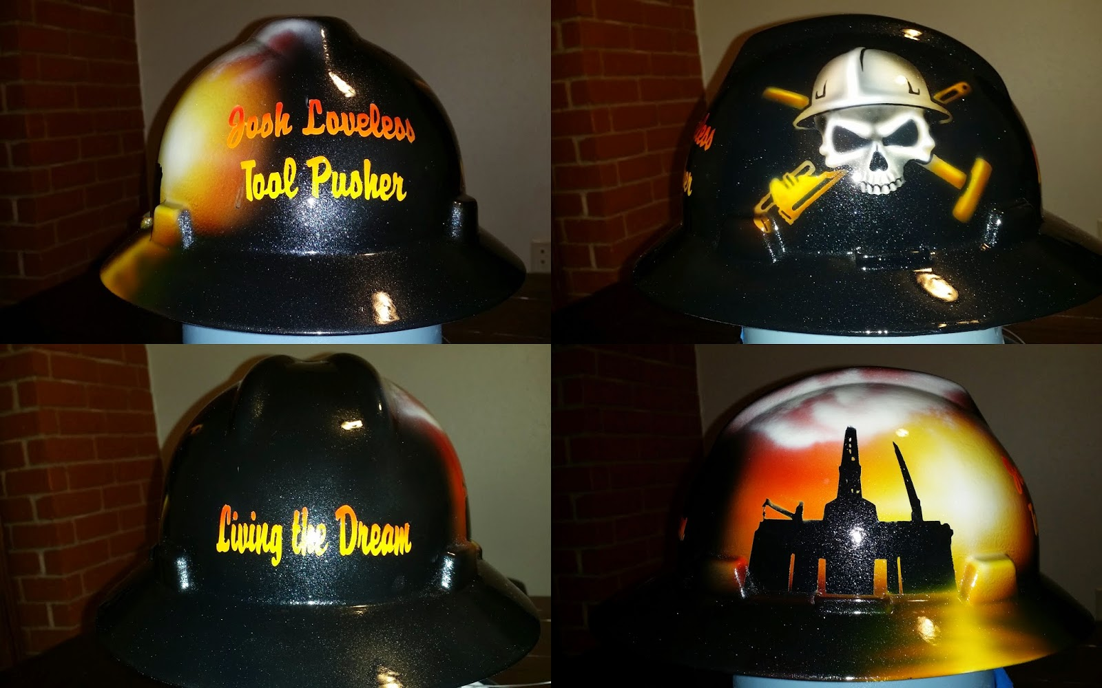 Custom painted offshore drilling hard hat