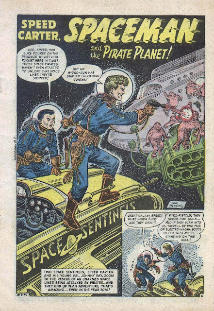 Spaceman 1 first story: splash panel, then one story panel