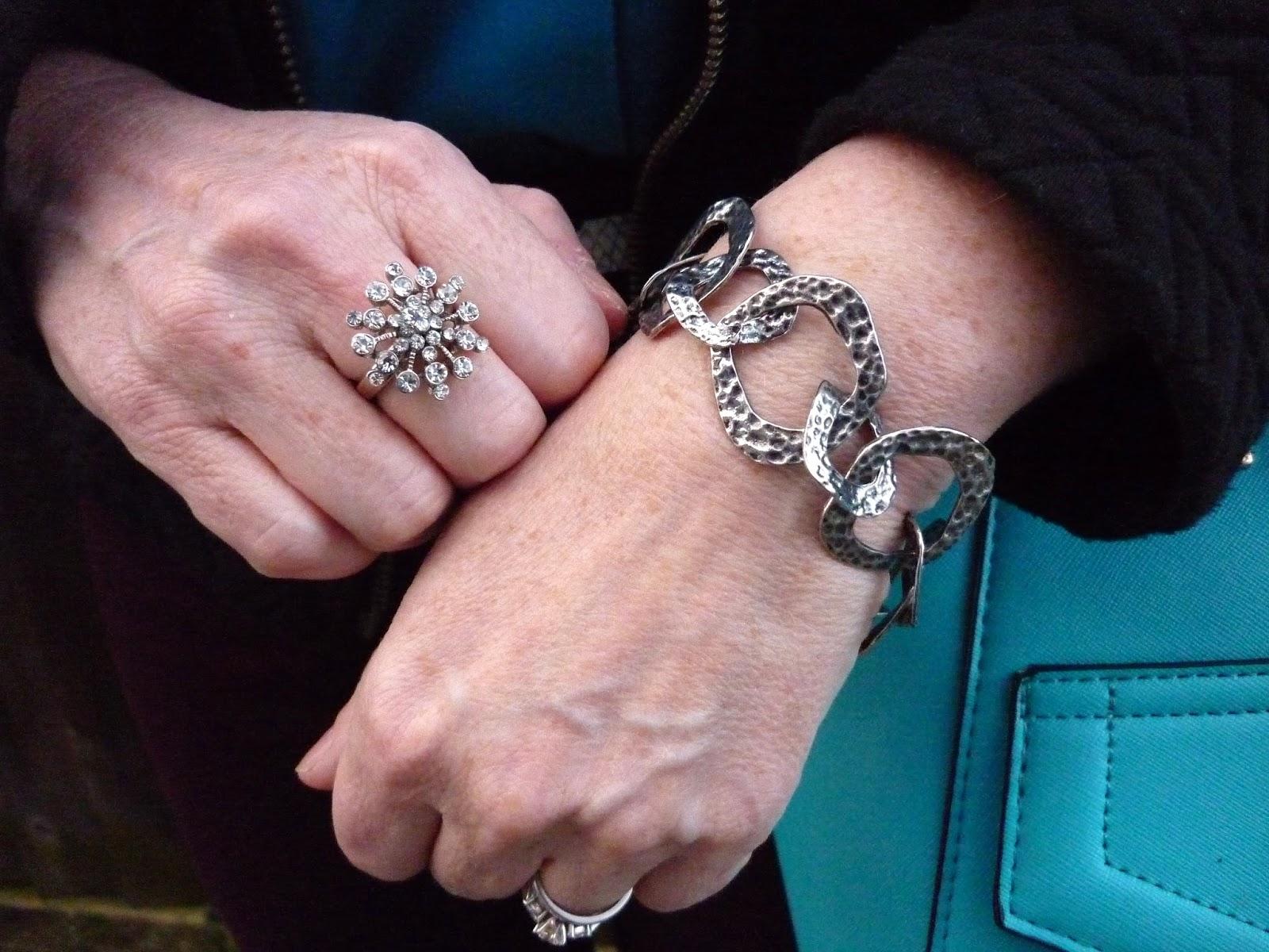 Accessorize Snowflake Ring, Hammered Silver Bracelet | Petite Silver Vixen