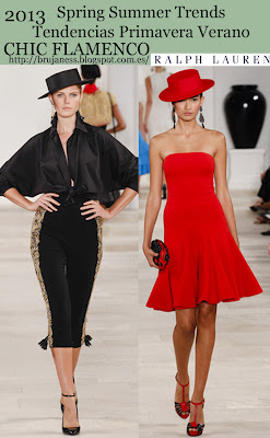 Chic Flamenco on Fashion shows Spring Summer 2013/ Tendencia Chic Flamenco en la pasarela Primavera verano 2013, Ralph Lauren, red, dress, vestido, rojo, negro, black, trousers, taleguilla, pantalones, bordados, embroidered
