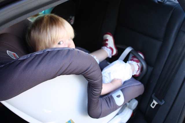 Britax MAX-FIX rear-facing car seat in the car