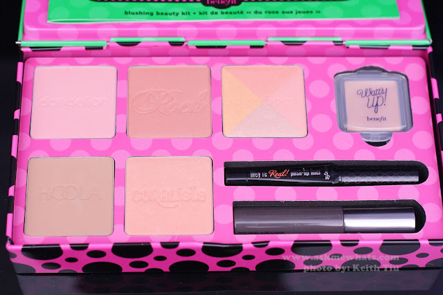 A photo of all the blushes included in Benefit Real Cheeky Party Kit