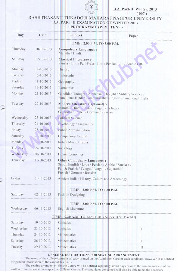 Nagpur University BA Part 2 Winter 2013 Timetable
