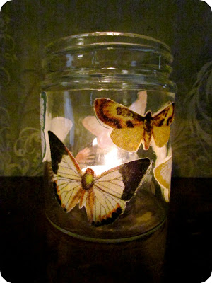 DIY Candle holder,Butterfly candle holder, butteflies, mod podge