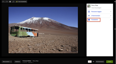 Google+ - Album oder Foto in der Lightbox-Ansicht äffnen, um zu sehen, wieviele es sich angeschaut haben