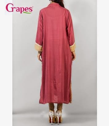 Ladies Lace Flower Embroidery Kurta by Grapes