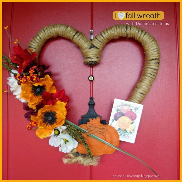 HEART FALL WREATH, DOLLAR TREE FALL WREATH, HEART WREATH, EASY FALL DECOR, FALL FLOWERS, INEXPENSIVE FALL WREATH