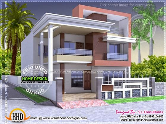 North indian style flat roof house with floor plan Indian house front design photo