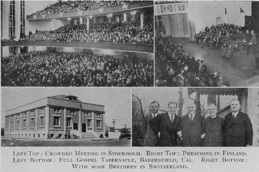 Pastor Stephen Jeffreys preaching at Stockholm in 1933. The Swedish People loved him.