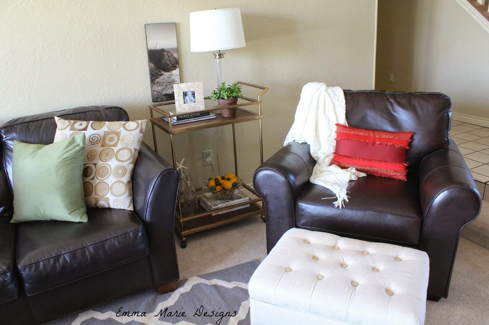 bar cart in the living room emma marie designs. Black Bedroom Furniture Sets. Home Design Ideas
