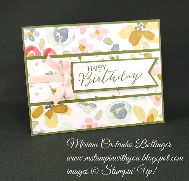Miriam Castanho-Bollinger, #mstampinwithyou, stampin up, demonstrator, pp, birthday card, english garden dsp, butterfly basics stamp set, banner triple punch, su
