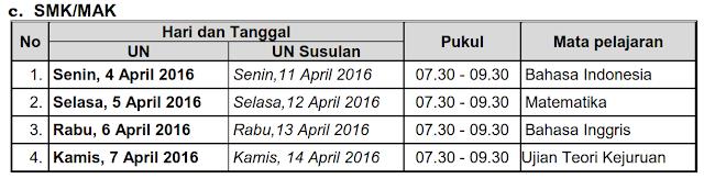 Jadwal Ujian Nasional UN SMK/MAK tahun Pelajarn 2015/2016