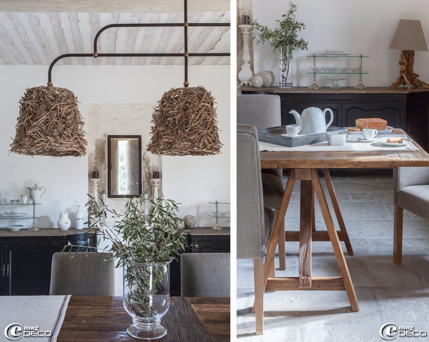 Photophore en verre 'Maisons du Monde' rempli de branchages d'olivier, buffets et présentoirs 'Flamant'
