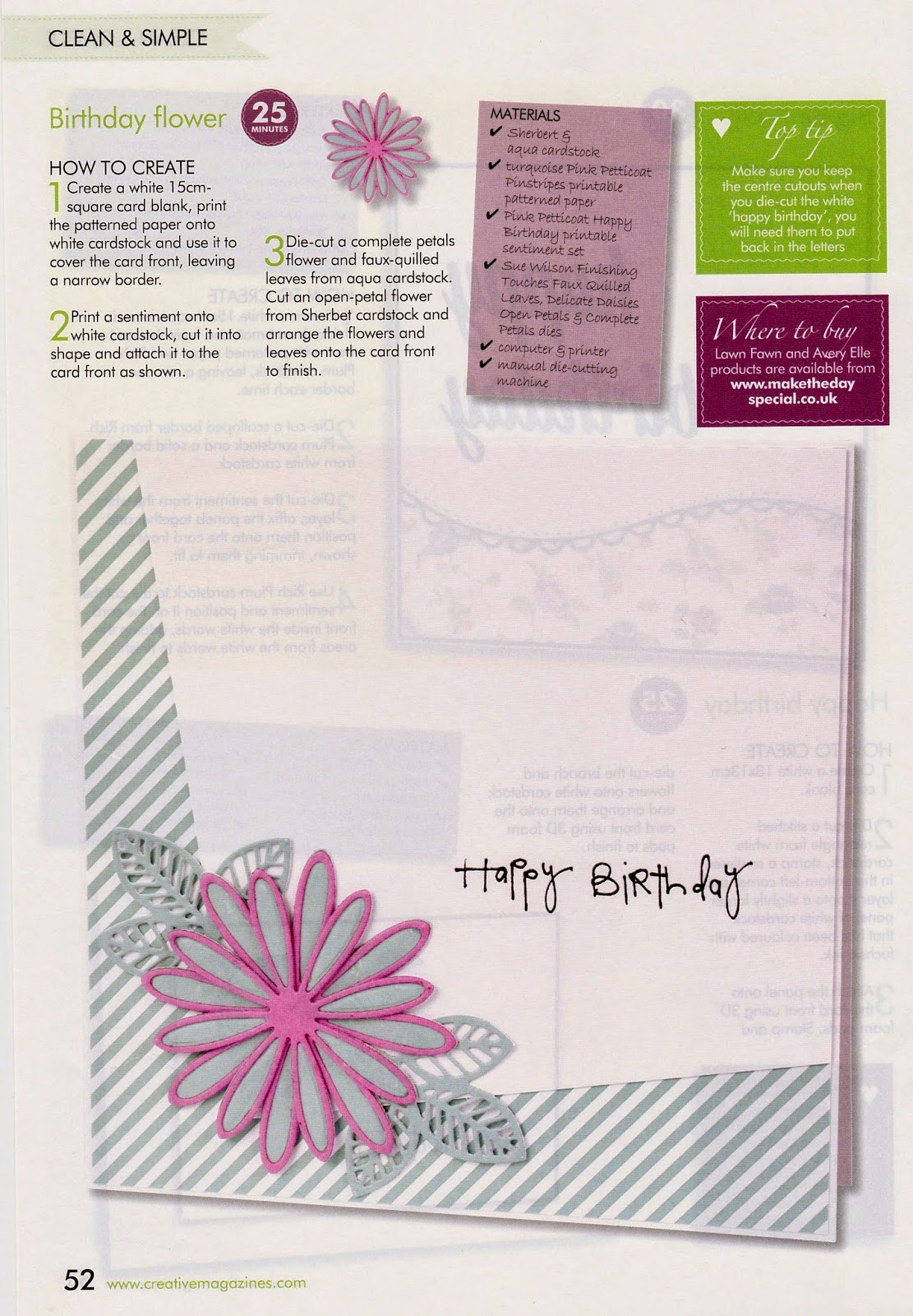 Crafting with cotnob birthday flower birthday flower good morning everyone today i am sharing another of my cards that was published in this months creative cardmaking magazine izmirmasajfo