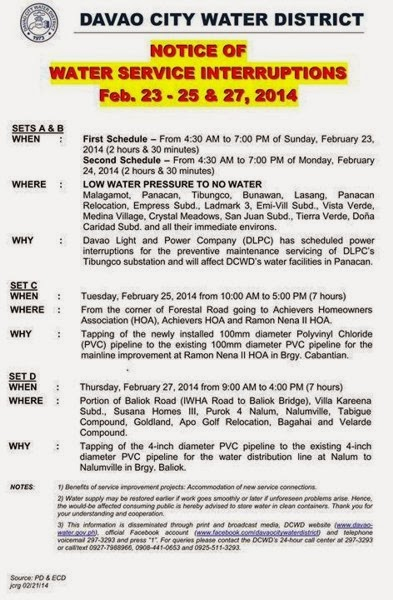 Davao City Water District,  Water Service Interruptions, Davao Delights, Davao City