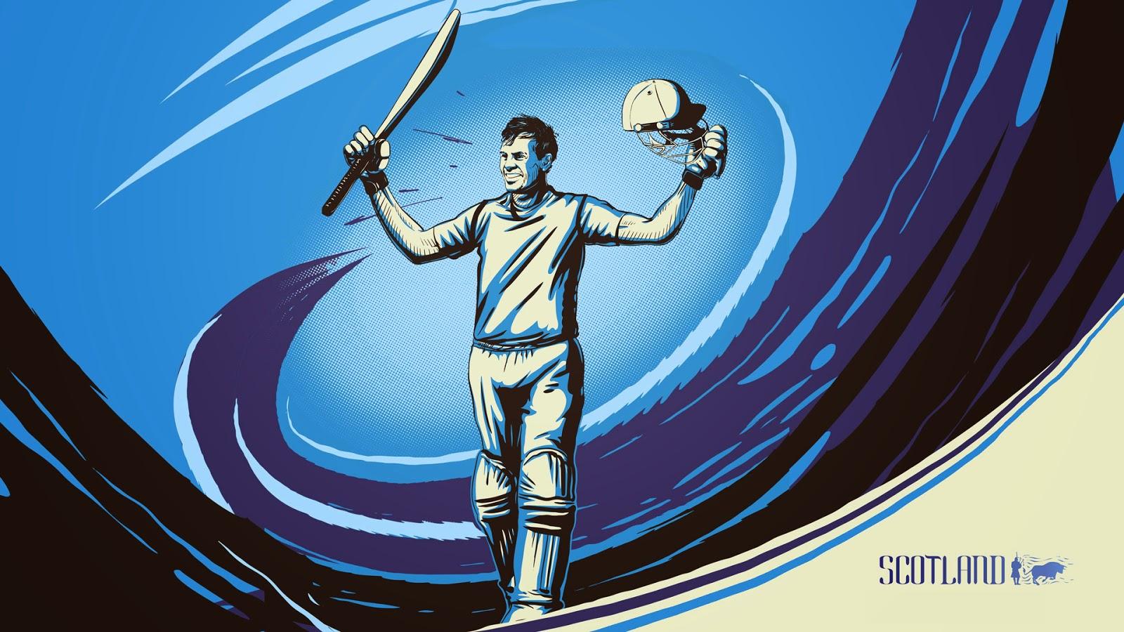 Preston Mommsen Scottish cricketer illustration sketch