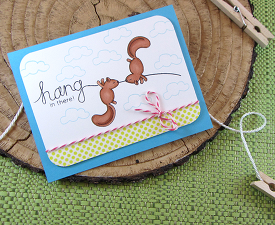 Hang Around Squirrel Card by Jennifer Jackson | Hanging Around Stamp Set | Newton's Nook Designs