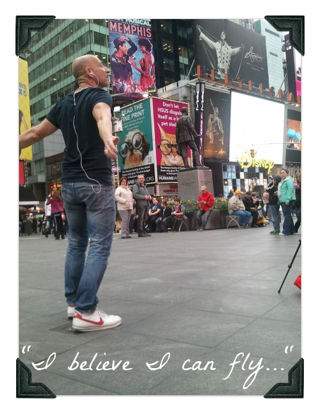 guy singing in times square