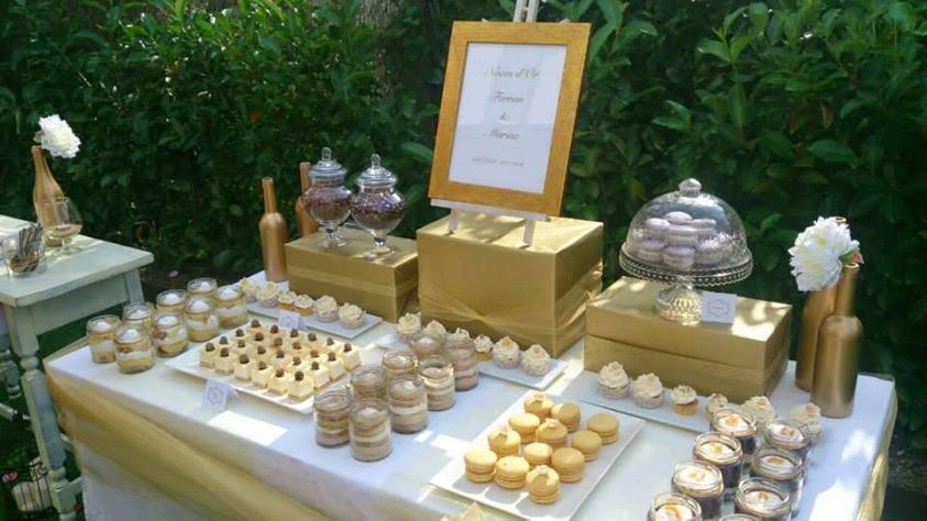 Duart cakes mesa dulce en color oro for Mesas de plastico para jardin