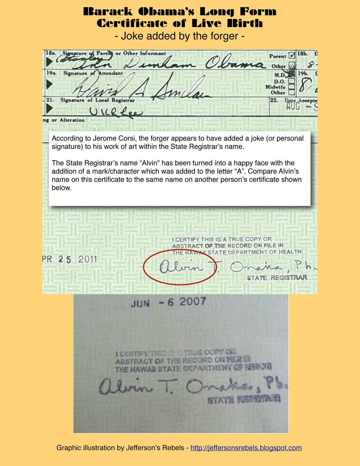 Jeffersons rebels may 2011 graphic joke added by the forger to obamas birth certificate aiddatafo Images