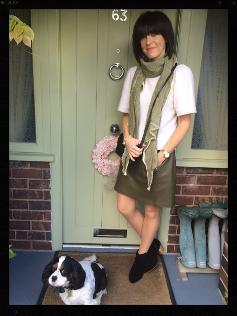 My Midlife Fashion, khaki, faux leather, pleather, a line, skirt, ankle boots, Zara, Mango, Ashiana