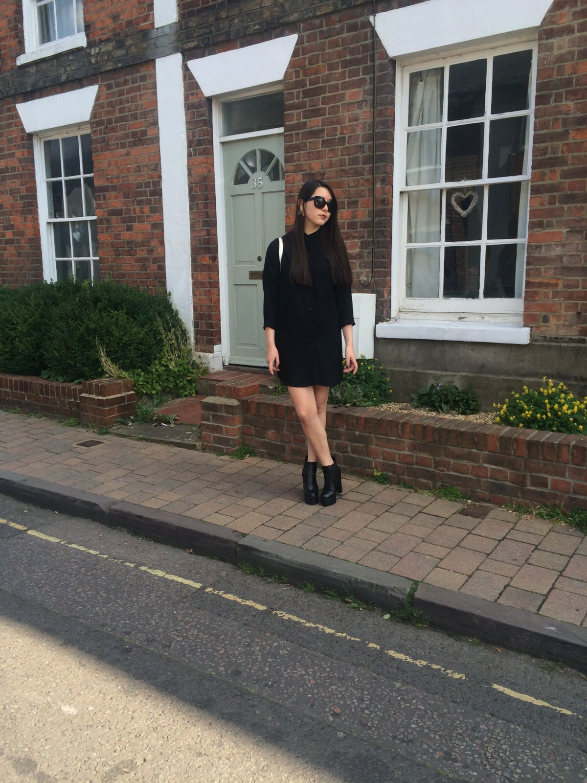 young hungry free black, cat eye sunglasses, public desire heeled boots, ootd, outfit post, fashion blogger