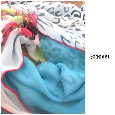 shawl chiffon 2 layer turquoise